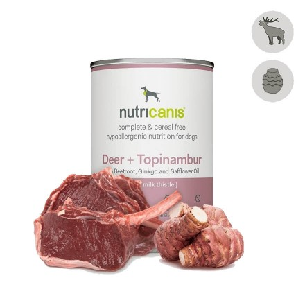 Adult wet dog food: 400g Deer + Topinambur with milk thistle