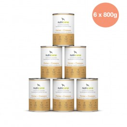 Adult wet dog food: 6 x 800g Horse + Cassava with milk thistle